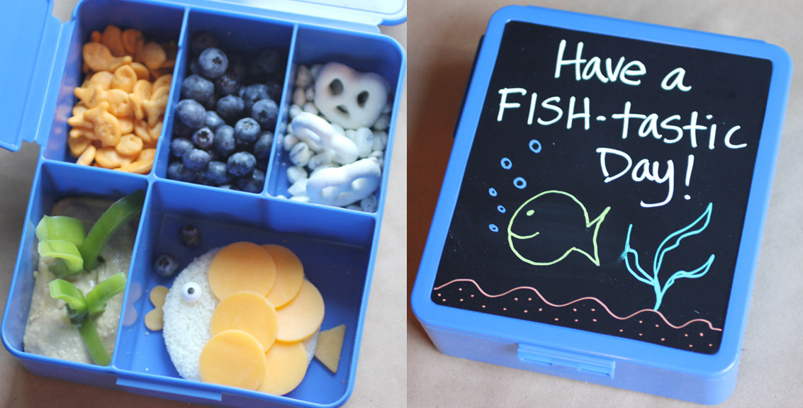 Fishy Bento Lunch With Chalkboard Note Area Repeat