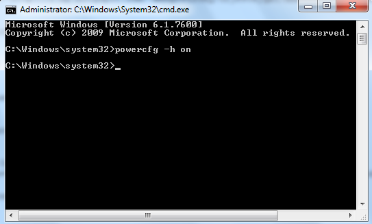 command prompt to enable hibernate