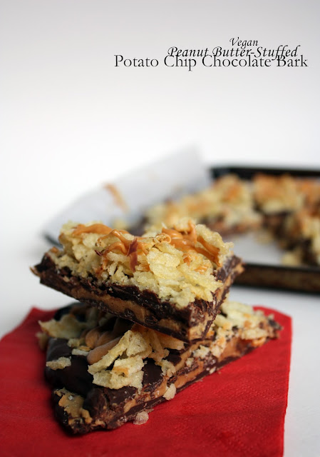 vegan peanut butter-stuffed potato chip chocolate bark