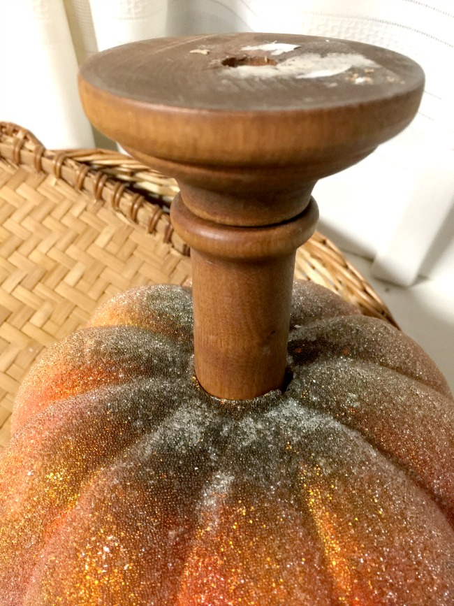 Glittered thrift store pumpkin with a DIY pedestal base www.homeroad.net