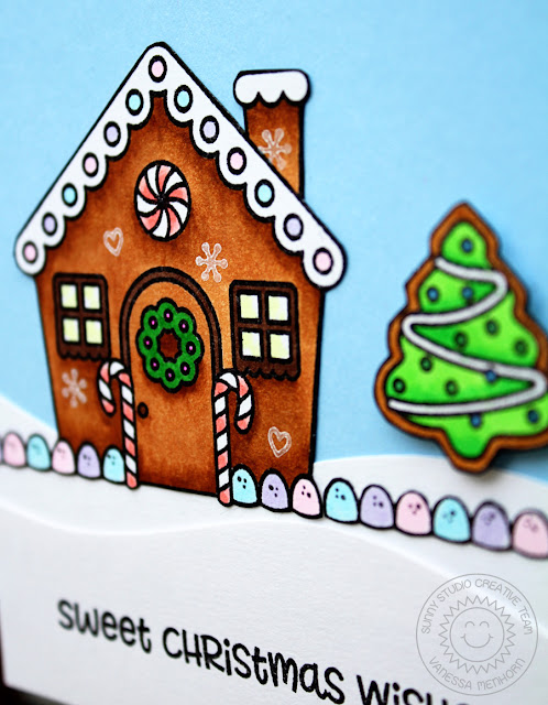 Sunny Studio Stamps: Jolly Gingerbread Snowy Hilltop Gingerbread House Card by Vanessa Menhorn