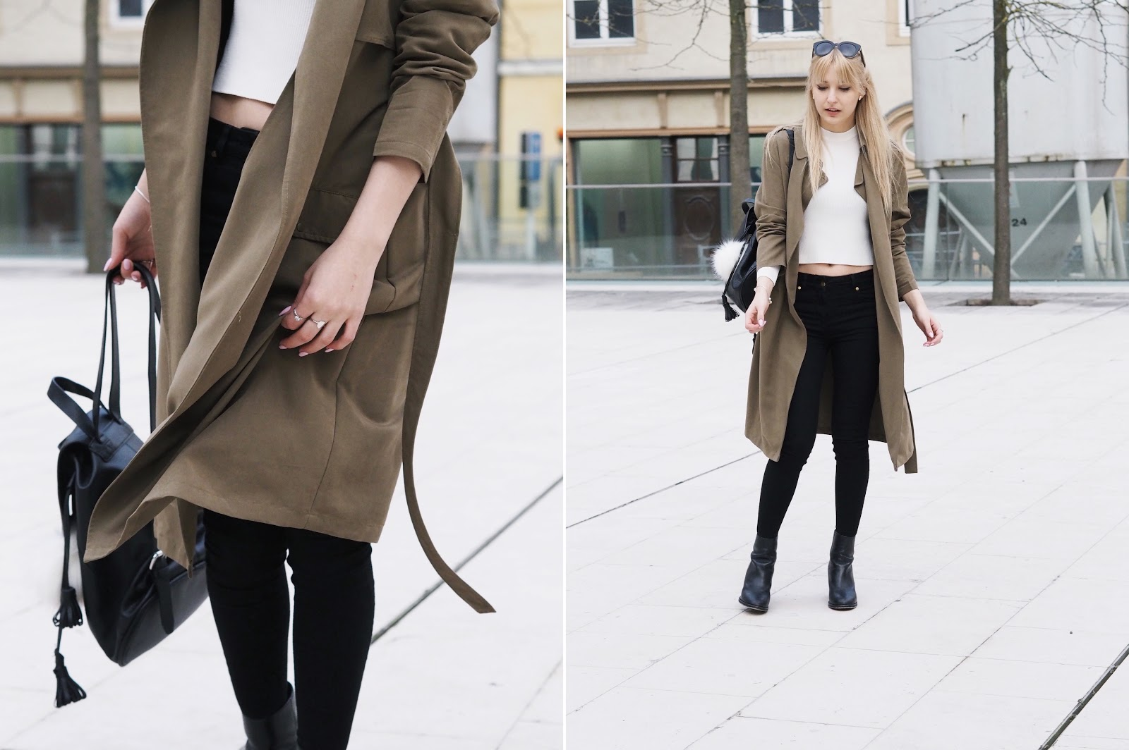 Army green khaki trench duster coat