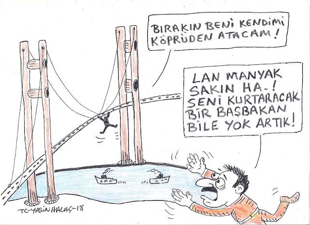 köprü intihar karikatür