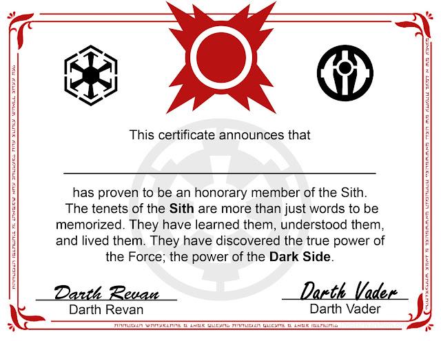 Sith Certificate Free Printable - Star Wars - The Dark Side Degree