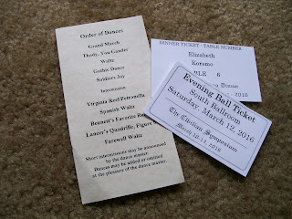 Ball and dinner tickets and dance list.