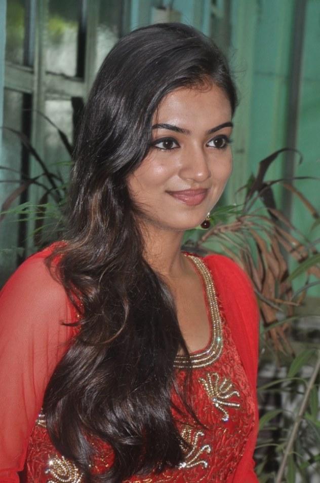 Nazriya Nazim Latest Long Hair Stills In Red Dress