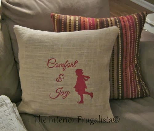 Vintage male skater silhouette on easy DIY burlap pillow