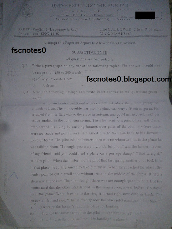 BS (Hons) Chemistry Past Papers Semester 1 English I (Language in Use) fscnotes0 Asad Hussain