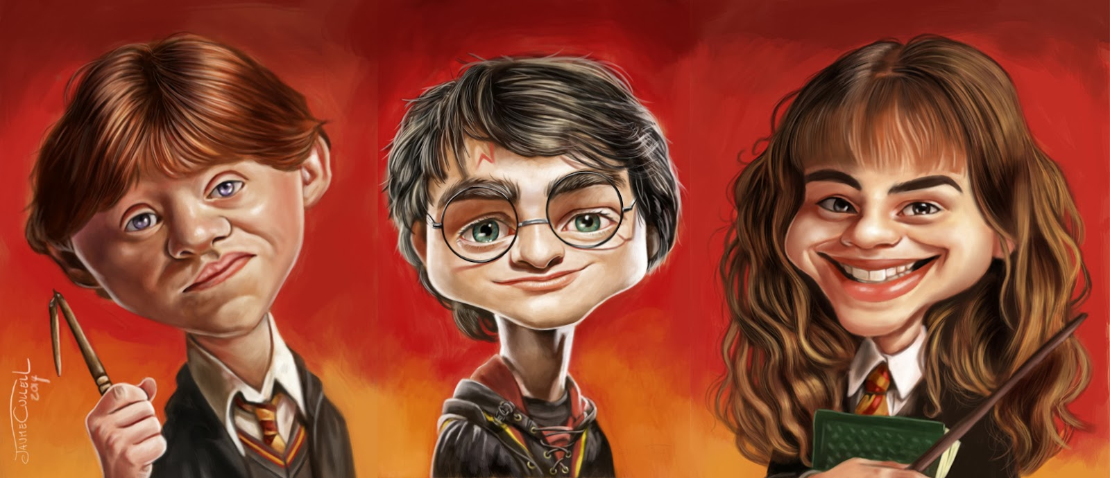 "Rupert Grint, Daniel Radcliffe y Emma Watson"" por Jaume Cullell"