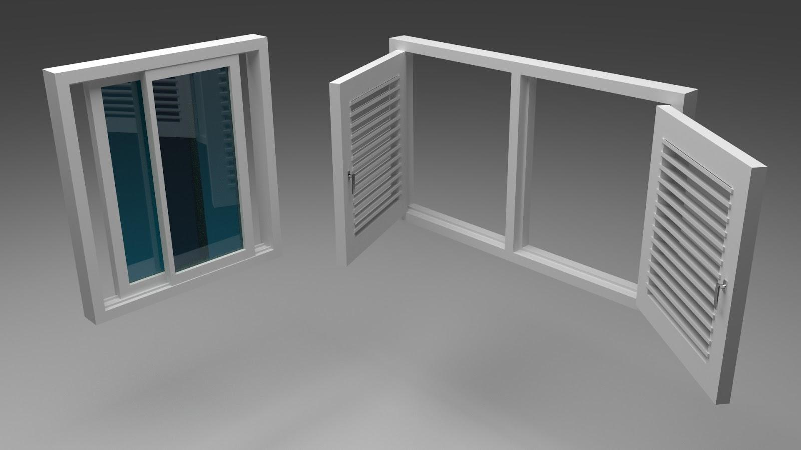 Free 3D Folding & Sliding Windows .blend file
