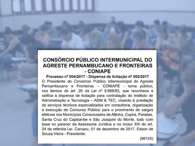 CONSÓRCIO PÚBLICO INTERMUNICIPAL DO AGRESTE PERNAMBUCANO E FRONTEIRAS - CONIAPE
