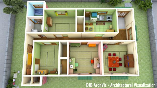 Chibi Maruko-chan's house aerial view