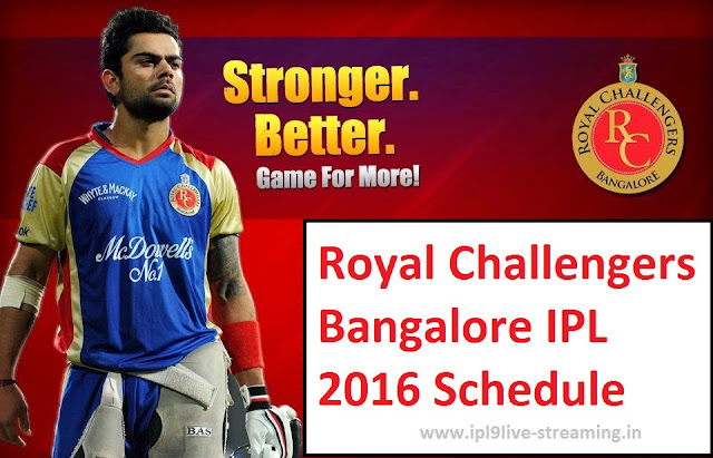 RCB Schedule for IPL 9