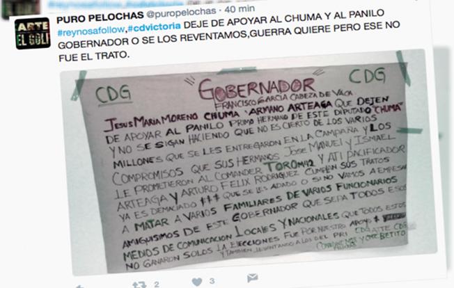 """""""NO """"CAPEA"""" el """"PELOCHAS"""" del CDG y lo """"CLAVAN"""" por SECUESTRO AGRAVADO en TAMAULIPAS...y al Panilo """"ni ganas de atraparlo"""". Narcomanta"""