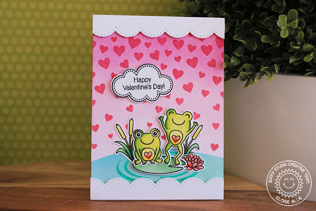 Sunny Studio Stamps: Cascading Hearts Froggy Valentine Card by Eloise Blue