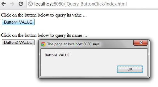jquery get button value when clicked
