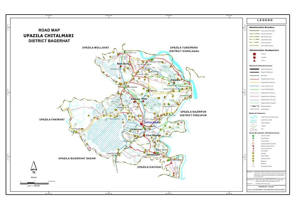 Chitalmari Upazila Road Map Bagerhat District Bangladesh
