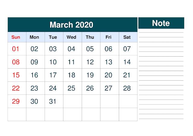 March 2020 Printable Calendar, March 2020 Calendar, March Calendar 2020 Template