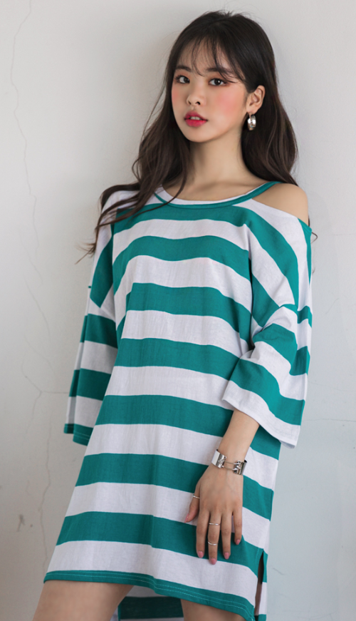 Striped Loose Fit Shoulder Cutout Dress