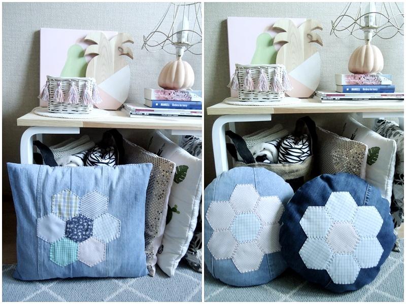 jeansowa poduszka z patchworkiem, z aplikacją, twórczy recykling,
