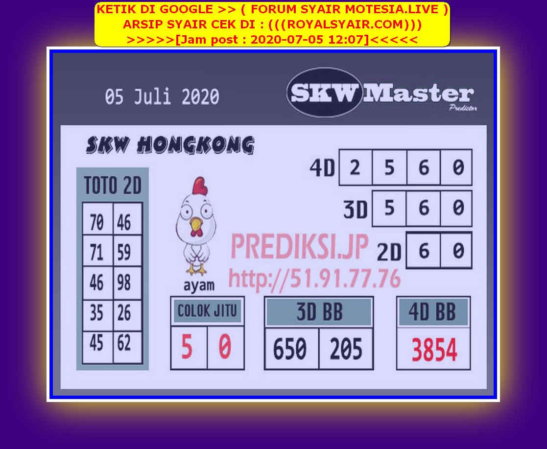 Kode syair Hongkong Minggu 5 Juli 2020 244