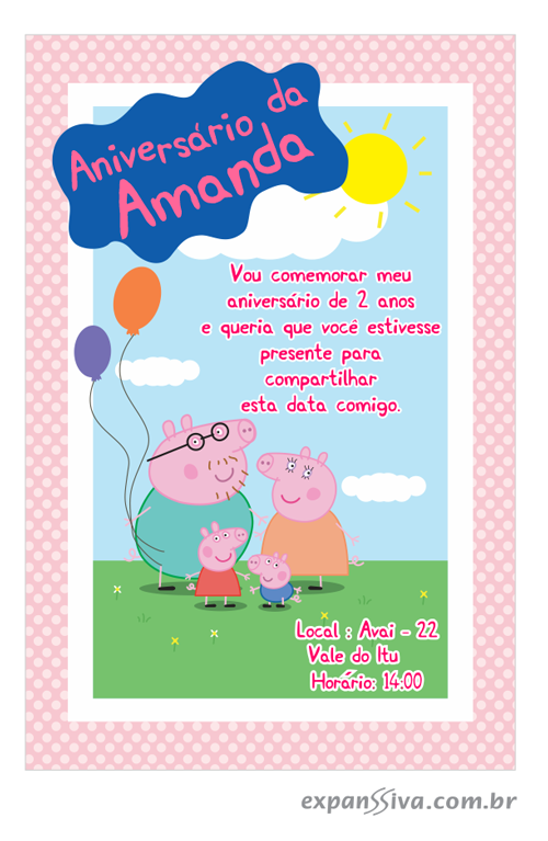 convite de aniversario peppa pig 2 7221 - Convite de Aniversário Infantil Peppa Pig