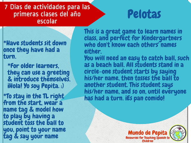 Activities for the First Days of School in Elementary Spanish Class
