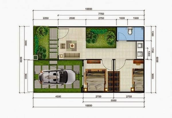 contoh denah rumah type 36