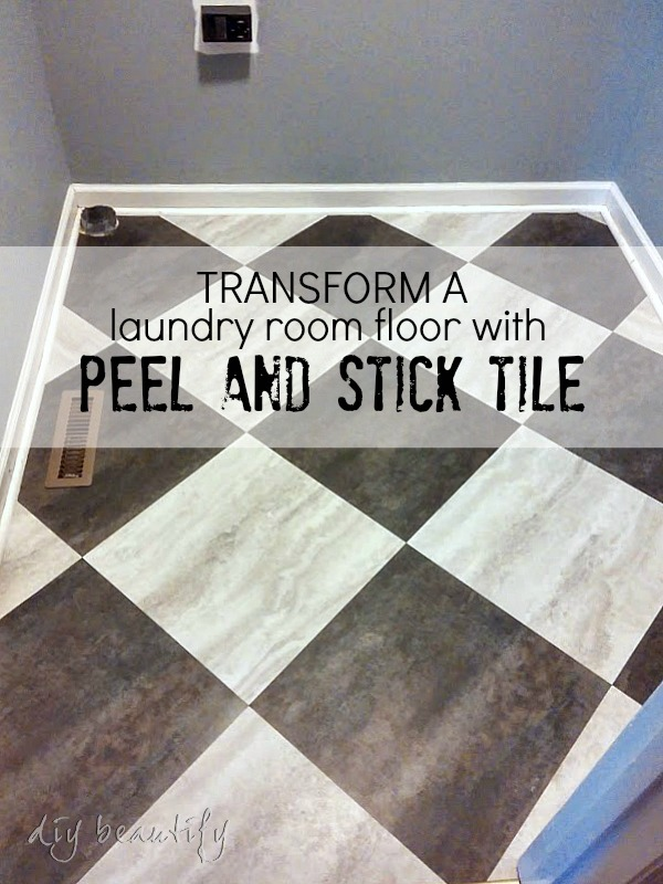 Budget Floor Makeover - use peel and stick tiles in a diagonal pattern to transform your floor | DIY beautify