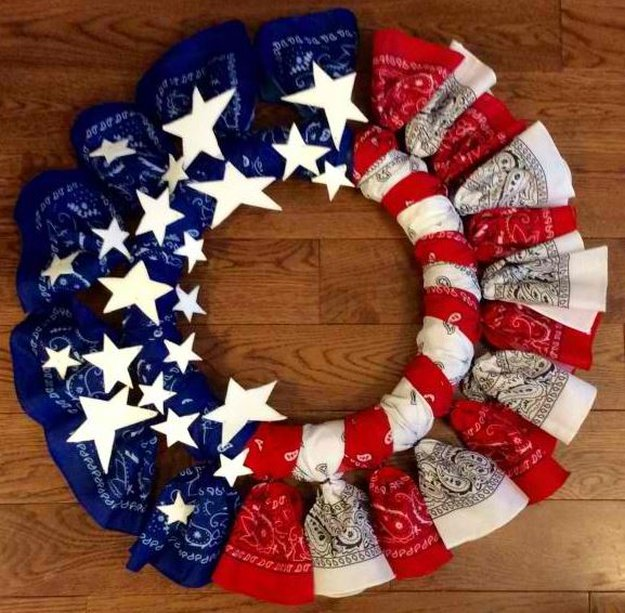 red white and blue bandana wreath