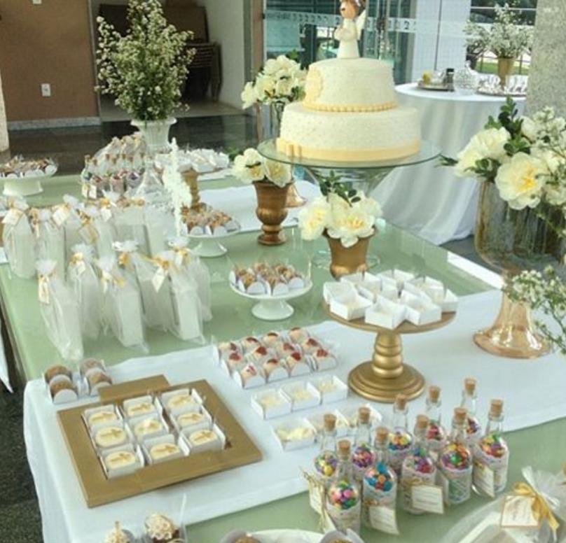 101 fiestas ideas para la mesa de dulces de la primera - Como decorar una fiesta de comunion ...