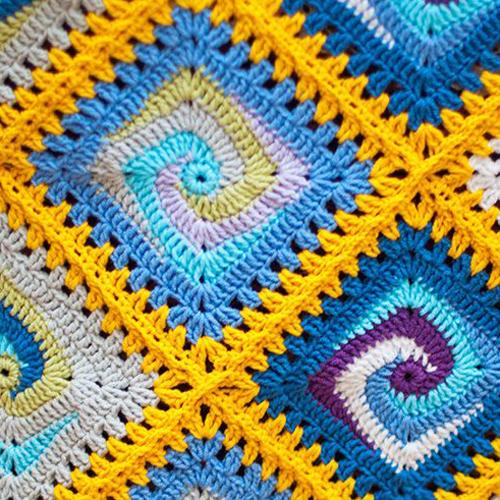 Crochet Blanket Spiral Granny Square - Free Diagram