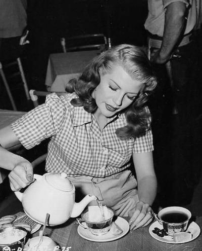Rita Hayworth Pouring Tea