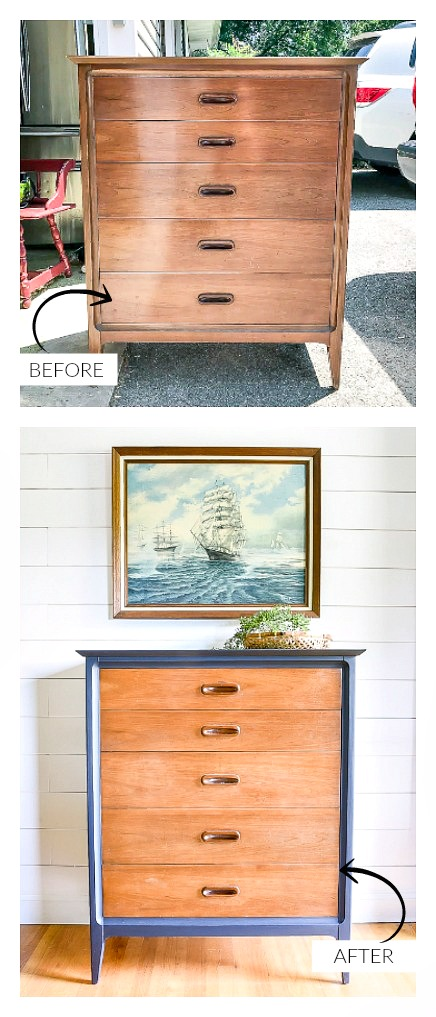 Before and after vintage Dixie dresser