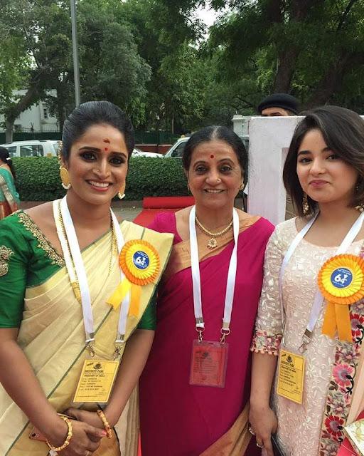 Zaira Wasim with Surabhi Lakshmi at the National Film Awards