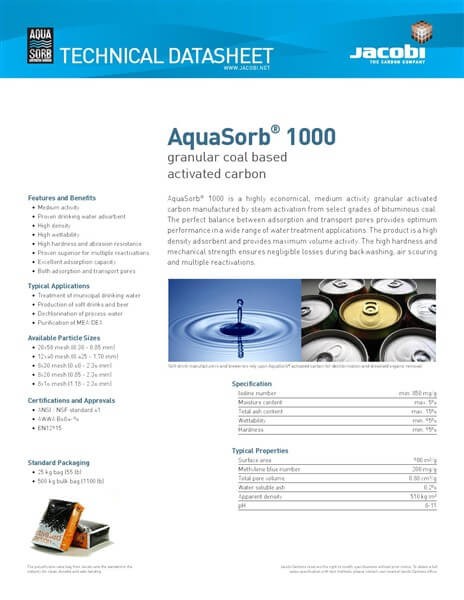 Technical Data Sheet (TDS) Karbon Aktif Jacobi AquaSorb 1000