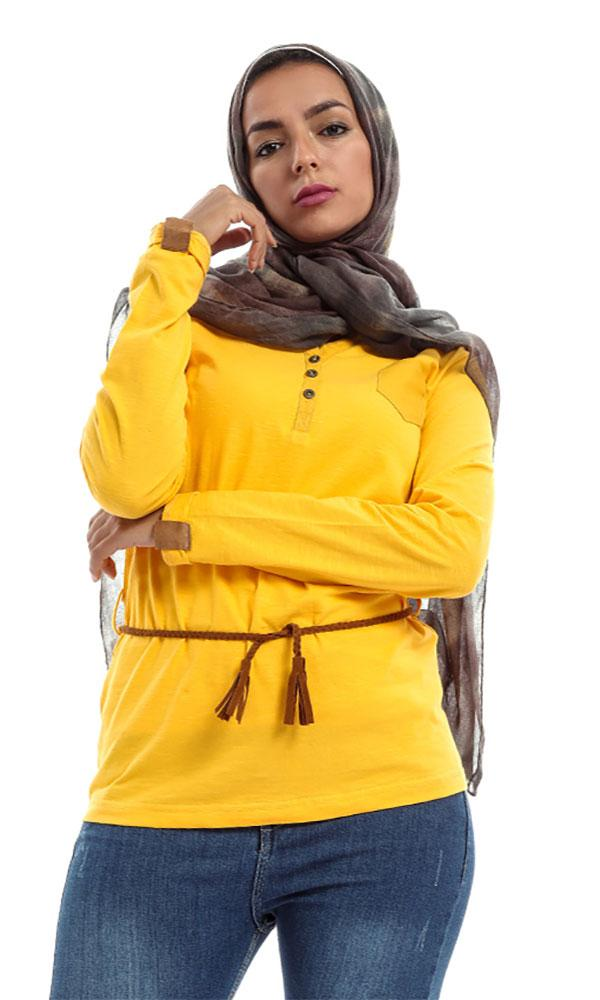 Solid Buttoned Women Top – Mustard