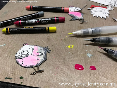 Tim Holtz characters Bird Crazy and Merry Misfits coloured with Dina Wakley Scribble Sticks - mixed media art by Jenny James