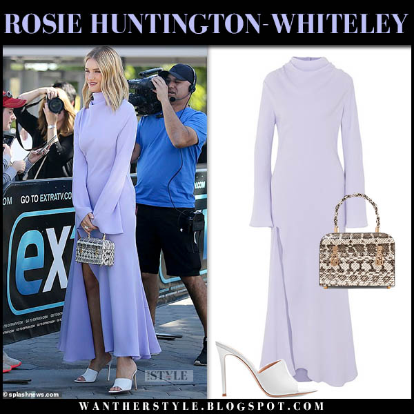 Rosie Huntington-Whiteley in lilac high neck maxi dress ellery model elegant style october 16