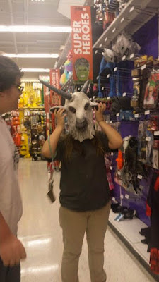 goat, halloween goat, halloween goat mask, fun at party city, mask wearing