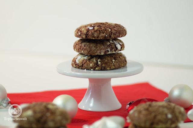 Schokoladenplätzchen für Weihnachten auch bekannt als Snowcaps - Foodblog Topfgartenwelt