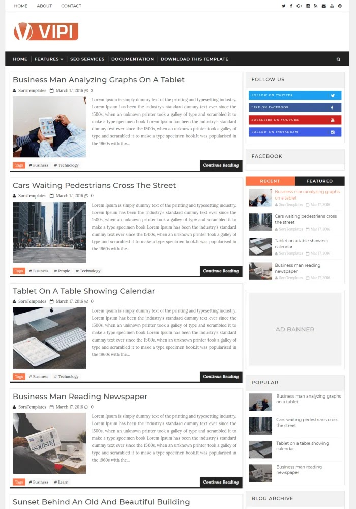 VIPI Best Free Responsive Blogger Templates