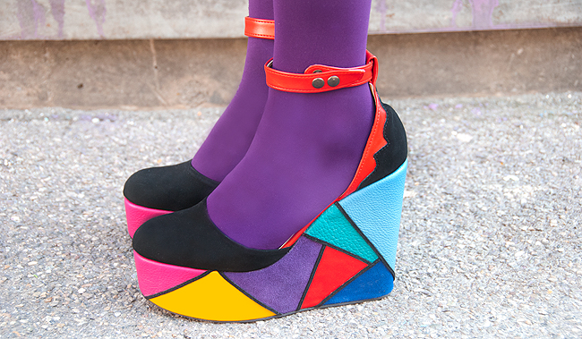 Madame Flamingo, platform shoes, rainbow shoes