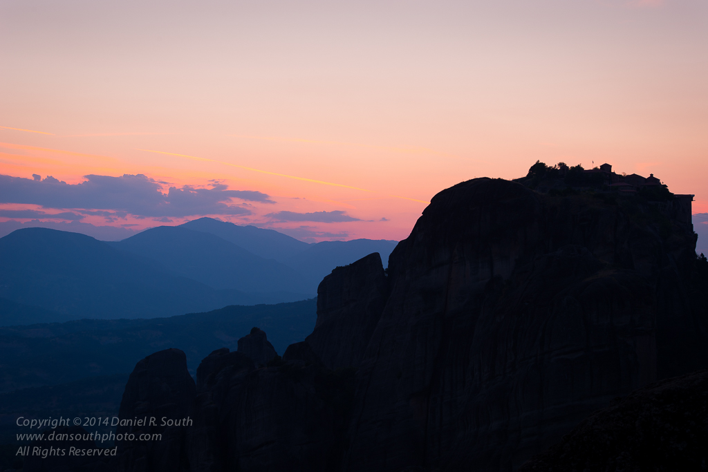 a photograph of meteora at sunset by daniel south