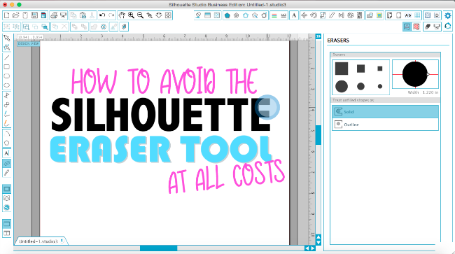 silhouette studio eraser tool, silhouette studio frozen, silhouette studio processing error