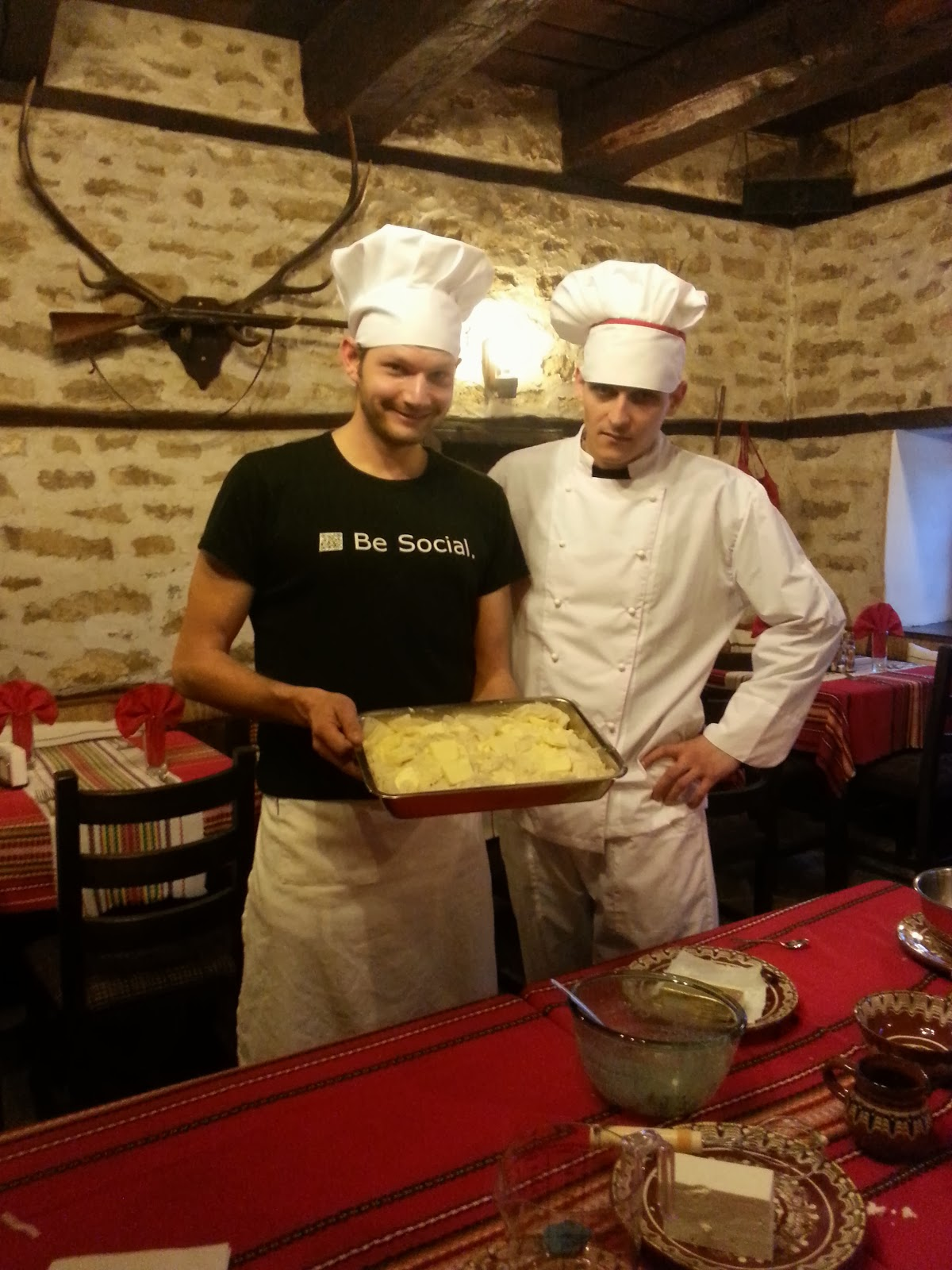 Arbanashki han cook Stephan and I with the almost ready Banitsa