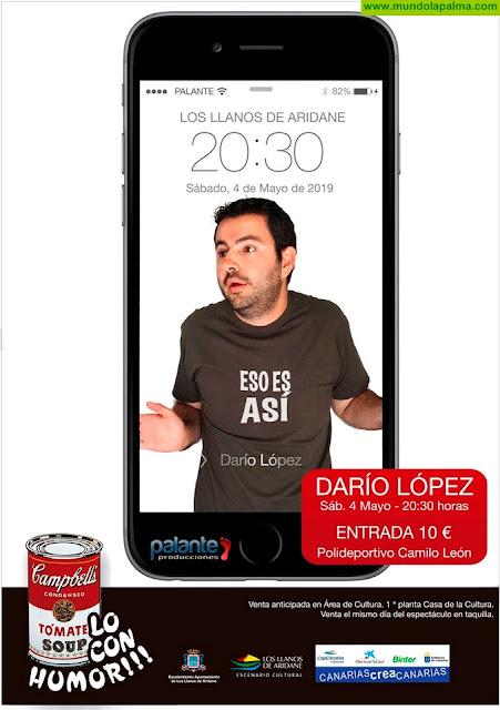 Darío López actúa el 4 de mayo en el Polideportivo Camilo León de Los Llanos de Aridane