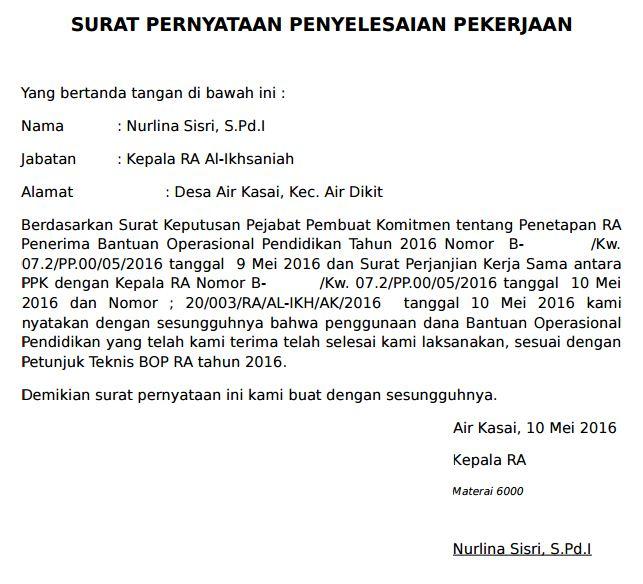 Surat Pernyataan penyelesaian pekerjaan dana BOP
