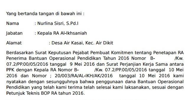 Contoh Surat Pernyataan Penyelesaian Pekerjaan Dana BOP TK ...