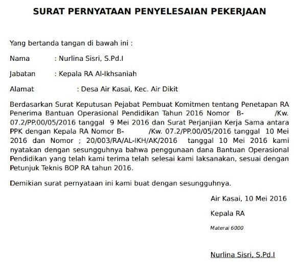 Contoh Surat Pernyataan Penyelesaian Pekerjaan Dana BOP TK RA Desa